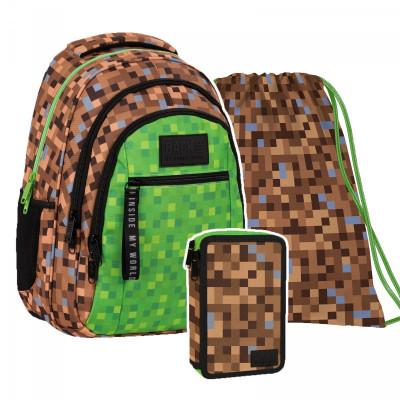 Minecraft  | Set školní batoh, penál, vak-batoh přes rameno  Minecraft pixely