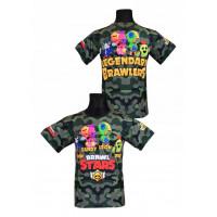 Tričko BRAWL STARS legendy - maskáčová černá/zelená