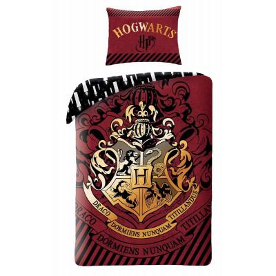 Harry Potter | Povlečení  Harry Potter - erb Bradavice hnědá/zlatá, bavlněné   140x200, 70x90