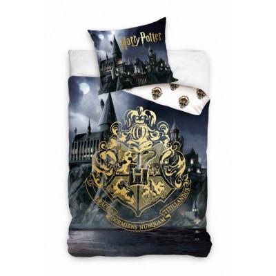 Harry Potter | Povlečení  Harry Potter - erb Bradavice zlatý, bavlněné  140x200, 70x90