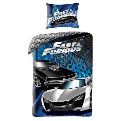 Fast&Furious| Povlečení  Rychle a zběsile, černé/modré bavlněné  140x200, 70x90