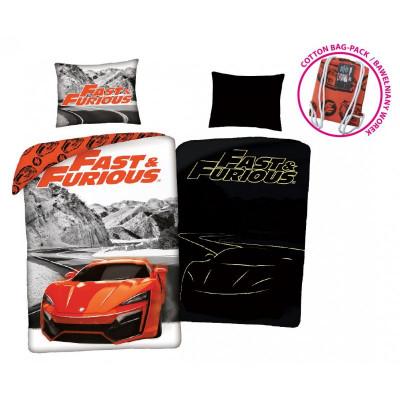 Fast&Furious| Povlečení  Rychle a zběsile, šedé/červené,  svítící, bavlněné  140x200, 70x90