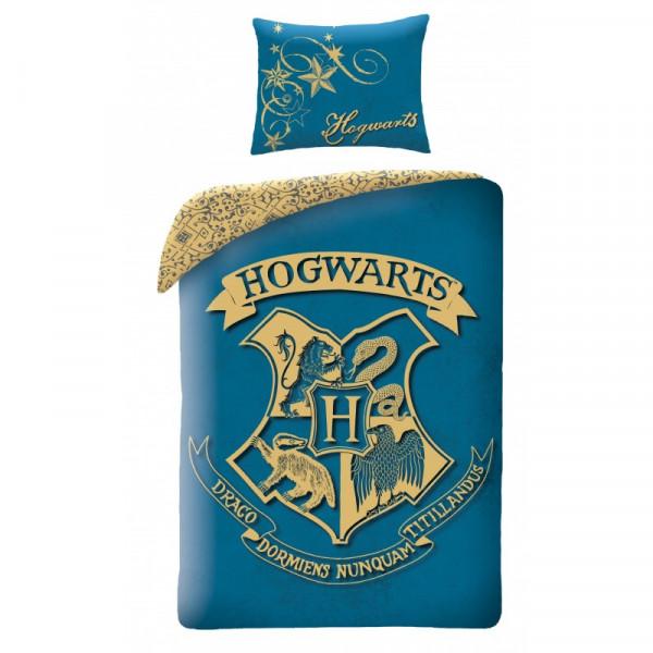Harry Potter  | Povlečení  Harry Potter - erb Bradavice - modré, bavlněné 140x200, 70x90